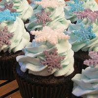 Jewel Tone Snowflake Cupcakes