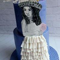 Handpainted girl cake