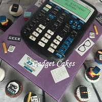 Scientific calculator cake & cuppies by Gadget Cakes