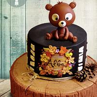 Country cake with little bear