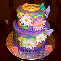 Tie Dye Hippie Flower Power Cake