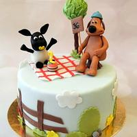 Shaun the sheep theme cake