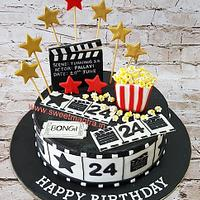 Movies, Acting theme customised designer fondant cake for Actor, Actress's 24th birthday