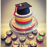 """""""Oh the places she will go"""" graduation cake"""