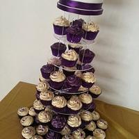 Cadburys Purple and Ivory Cupcake Tower