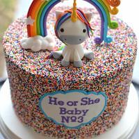 Unicorn Gender Reveal Cake