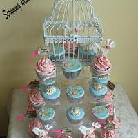 Vintaged themed 18th with broaches, birdcages and lovebirds
