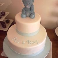 Baby blue baby shower cake