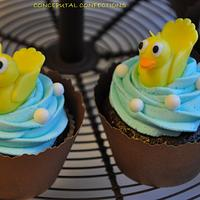 Duck Baby Shower Cupcake by Jessica