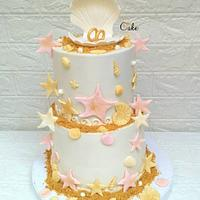 Sea engagement cake