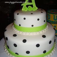 Lime and Black Fondant Polka Dot Cake