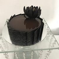 Dark chocolate mirror glaze