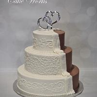 Peeking chocolate wedding cake