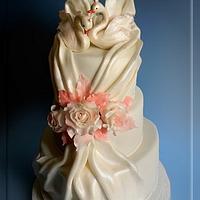 Wedding cake with swans