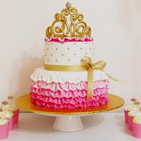 Pink and Gold cake and cupcakes