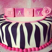 Pink Zebra Baby Shower Cake