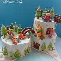 Winnie the pooh friends snow cakes