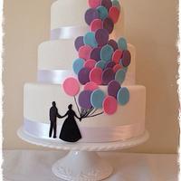 Balloon release wedding cake