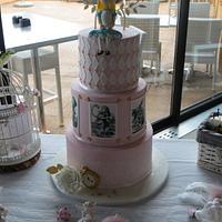 Alice in Wonderland baptism cake