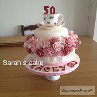 Roses and teacup cake