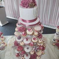 Pink vintage wedding tower
