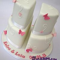 Split 2 Tier Christening Cake for Twins!