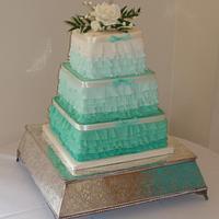 Square ombre ruffle cake