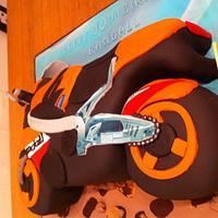 carved motorbike cake