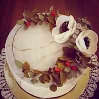 marble effect, flower wreath