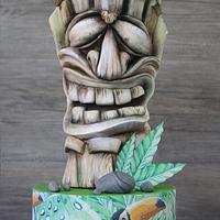 Tropical Moai Cake by IlusionaCakes