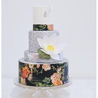 Oriental Silver Wedding Cake