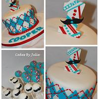 """Little Man"" Moustache and tie,, Argyle Cake and Cake pops!"