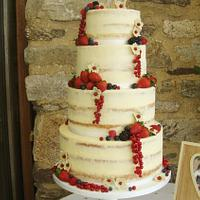 Rustic naked wedding cake.