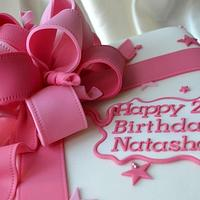 Pink bow 21st cake