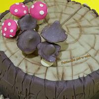 Mushrooms, toadstools, woods and log cake by Pattiecake
