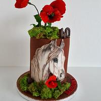 B-day horse and poppies