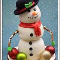 Snowman Birthday Cake