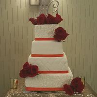 Elegant Scrolls Wedding Cake