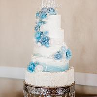Blue and white winter wedding
