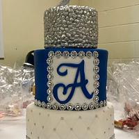 Royal blue and silver 90th birthday cake