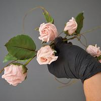 Sugar roses with long stems