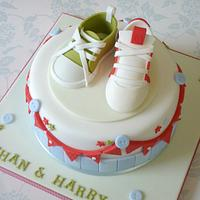 Baby shoe & football boot christening cake