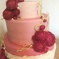 Wedding Flowers cake - Pink Velvet