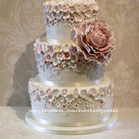 Pretty Pale pink and Peony wedding cake