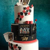 Casino poker theme 21st cake with slot machine