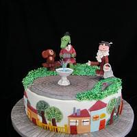 Cheburashka and Crocodile Gena cake