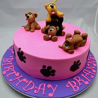 Cute little puppies cake