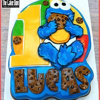THE BABY COOKIE MONSTER 1st BIRTHDAY CAKE