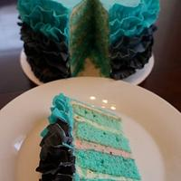 Black and Blue ruffle cake