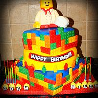 Chef Lego cake for a 'build your own pizza' party!